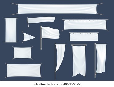 Vector Icons Of Blank Models Banners Flags Posters Mockup
