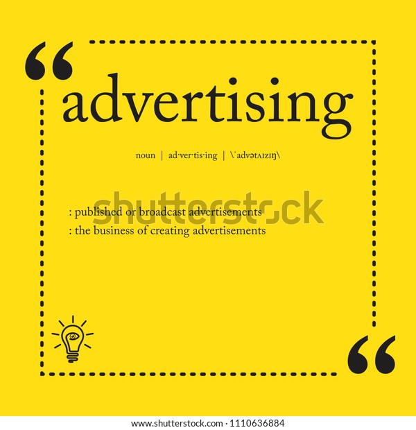 Advertising Definition Spelling Word Stock Vector (Royalty Free