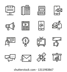 Advertising And Digital Marketing web icon set - outline icon collection, vector