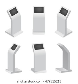 Advertising display terminal. Payment terminal or interactive kiosk with digital touch screen. Vector illustration