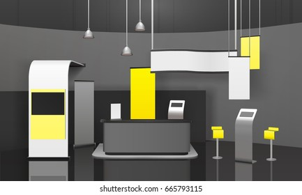 Advertising exhibition stand with counter, banners, displays, shelves for handout on glossy floor 3d mockup vector illustration