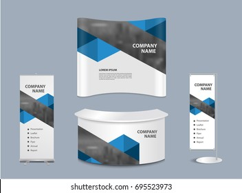 Advertising exhibition stand design with promotional elements in corporate identity style isolated vector illustration