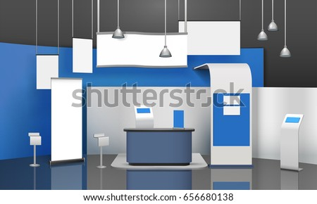 Exhibition Stand Mockup Free : Advertising exhibition stand mockup d composition stock vector