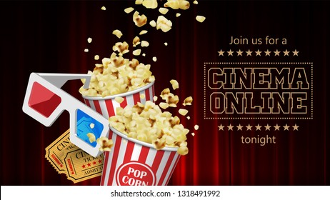 Advertising for the film industry. Popcorn, glasses and tickets   against a red curtain. 3D vector. High detailed realistic illustration