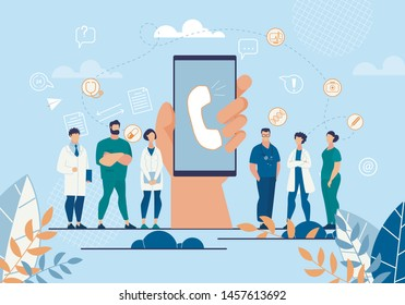 Advertising Flyer Ambulance Help Application. Close Up on Phone Screen Call Button. App to Call Doctor and Consult Online. Clinic Staff are Available to Patient. Vector Illustration.