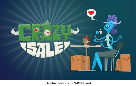 Advertising flyer with cartoon blue female monster sitting in a cafeteria, drinking tea and eating cake. Under the table are many shopping bags with goods. black background. vector illustration