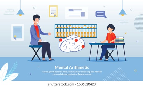 Advertising Flyer Inscription Mental Arithmetic. Developing Courses Practice Elements Game Format. Childhood, Classes are Useful. Tutor Teaches Girl to Develop Mathematical Capabilities Brain.