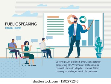 Advertising Flyer it is Written Public Speacking. Training Courses. Course is Full Details and Divided into Modules. Large Man in Suit Speaks in an Audience in Front Students, Uses Chart.