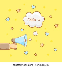 Advertising for followers, follow us sign with megaphone
