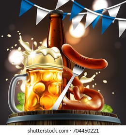 Advertising food and drink elements for traditional beer festival Oktoberfest. Beer glass, sausage and pretzel on special background.Highly detailed illustration.