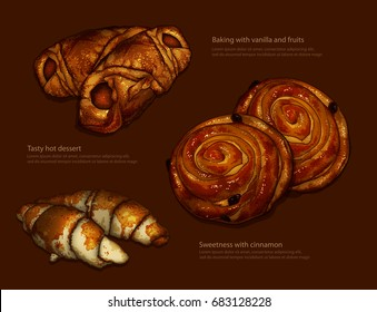 Advertising freshly baked ruddy rolls and croissants on a brown background.  High detailed realistic illustration