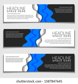 Advertising Header, Footer Web Banner Background Mockup wavy, wave with blank space. Vector Design Mockup