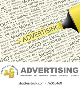 ADVERTISING. Highlighter over background with different association terms. Vector illustration.