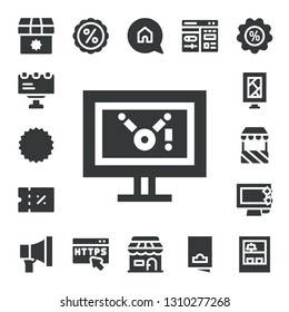 advertising icon set. 17 filled advertising icons.  Simple modern icons about  - Shop, Billboard, Coupon, Display, Stand, Promotion, Discount, Https, Advertising, Cms, Flyer