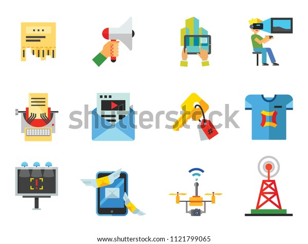 Advertising Icon Set. Tablet PC Smartwatch VR Gaming Viral Marketing Promotion Email Marketing Direct Message Billboard Advertising Broadcast Copywriting Custom Printing Surveillance Drone Keywording