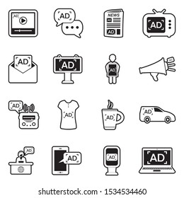 Advertising Icons. Line With Fill Design. Vector Illustration.