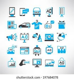 advertising icons set, marketing promotion icons set, black and blue color