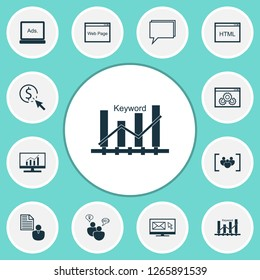 Advertising icons set with web page, comprehensive analytics, display advertising and other digital media elements. Isolated vector illustration advertising icons.