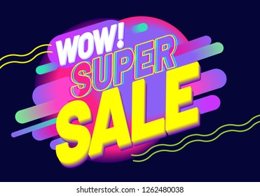 "Advertising inscription ""Super Sale"" on dark blue background. Discount banner design. Vector illustration fashion newsletter designs, poster design for print or web, media, promotional material"