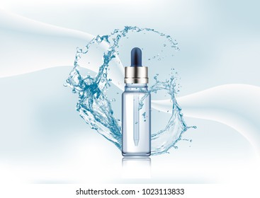 Advertising magazine page,Splash of water,realistic glass cosmetic bottle,vial with dropper for oil, liquid essential drops on abstract stylish gradient background.Vector illustration.