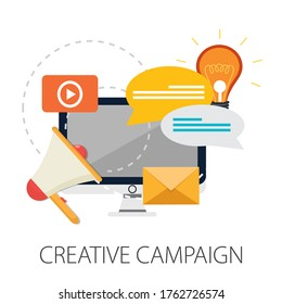 Advertising and marketing concept. Project Advertising campaign for web banner and creative process