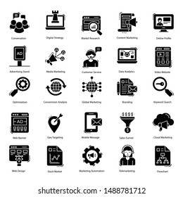 Advertising and marketing glyph icon pack for related projects.