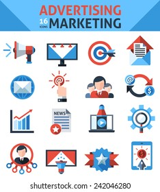 Advertising marketing icons set with announcement selling campaign elements isolated vector illustration