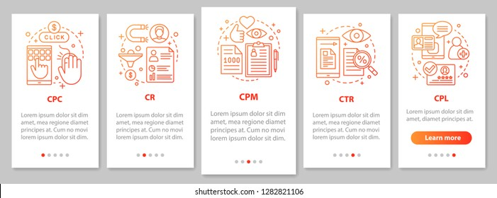 Advertising metrics onboarding mobile app page screen with linear concepts. Digital marketig. SMM. CTR, CPC, CPM, CR, CPL walkthrough graphic steps. UX, UI, GUI vector template with illustrations