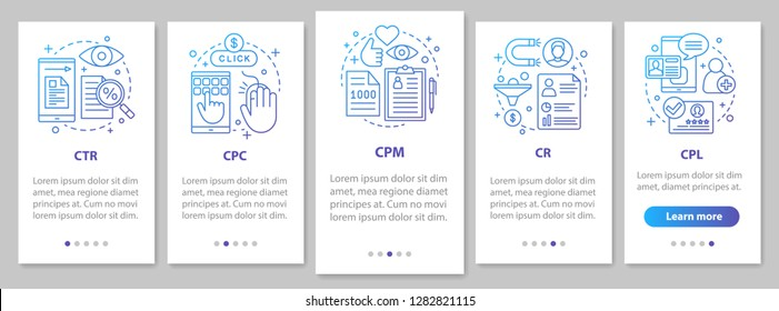 Advertising metrics onboarding mobile app page screen with linear concepts. Digital marketig. SMM. CTR, CPC, CPM, CR, CPL walkthrough steps instructions. UX, UI, GUI vector template with illustrations