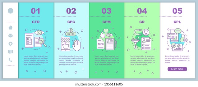Advertising metrics onboarding mobile web pages vector template. Digital marketing. SMM. CTR, CPC, CPM, CR, CPL. Responsive smartphone website interface. Webpage walkthrough step screen. Color concept