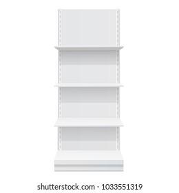 Advertising POS POI Display Rack Shelves For Supermarket Floor Showcase on the white background. front view. Slender white shelves. Mock Up Template. Vector illustration.