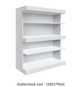 Advertising POS POI Display Rack Shelves For Supermarket Floor Showcase on the white background. Slender white shelves. Mock Up Template. Vector illustration.