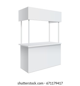 Advertising POS POI Promotion counter, Retail Trade Stand Isolated on the white background. MockUp Template For Your Design. Front view and perspective view. Vector illustration.