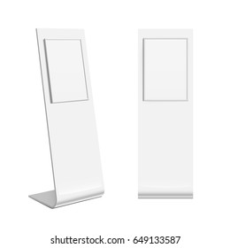 Advertising POS POI Retail Trade Stand stand banner on the white background. Mock Up Template. Front view and perspective view Vector illustration.