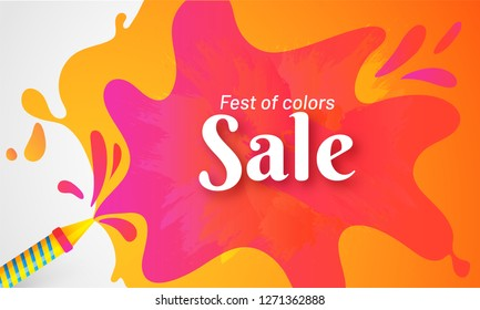 Advertising poster or banner design for Holi festival celebration concept.