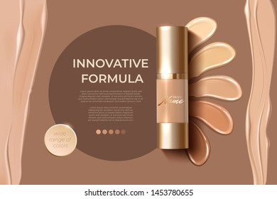 Advertising poster for cosmetic product for catalog, magazine. Design of cosmetic package. Advertising of foundation cream, concealer, base, BB cream. Realistic creamy texture