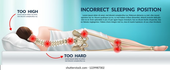 Advertising poster incorrect posture for sleep on a high pillow and hard mattress. Wrong position cervical vertebrae and knees. 3d realistic vector illustration.