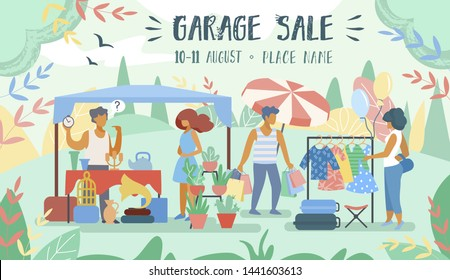 Advertising Poster Inscription Garage Sale Flat. Man Put on Market Unnecessary Things in his Yard. Banner People Choose to Shop in Afternoon Near House Cartoon. Vector Illustration.