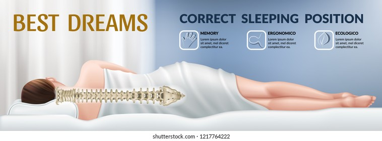 Advertising poster with orthopedic mattress. Correct position for sleep, good dreams. Pillow with memory effect. Realistic 3d vector illustration.