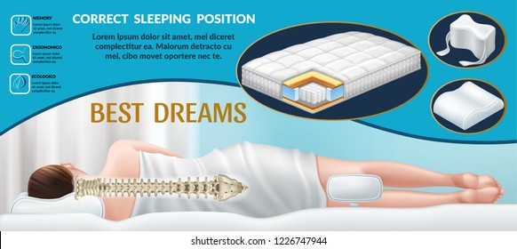 Advertising poster with orthopedic mattress, pillows for neck and for the knees. Correct position for sleep, good dreams. Bedding with memory effect. Realistic 3d vector illustration.