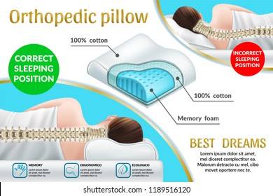 Advertising poster with orthopedic pillow with memory effect. Correct and incorrect position for sleep, good dreams. 3d realistic vector illustration.