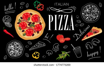 Advertising poster for a pizzeria like a blackboard with white food silhouettes and color illustrations.