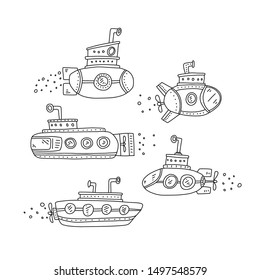 Advertising poster set submarine quick sketch. Submarine hand drawn in various shapes and sizes. Children's drawing. Coloring book for children. Class ships capable diving for long time under water.