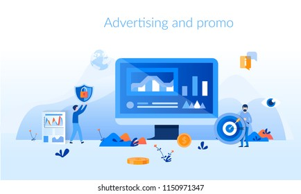 Advertising and promo Concept for web page, banner, presentation, social media, documents, cards, posters. Vector illustration