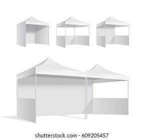 Advertising promotional outdoor mobile tent . Mock up blank template. Illustration isolated on white background vector