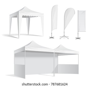 Advertising promotional outdoor mobile tent. White Flag Blank Expo Banner Stand. Illustration isolated on white background vector