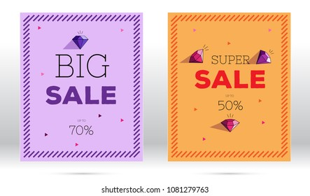 advertising sale flyers with big typography and dimonds, minimalistic modern concept