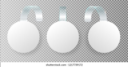 Advertising sale on bended transparent stripe. White round point tag for supermarket sales  on store shelves vector template 3d illustration isolated realistic set checkered background