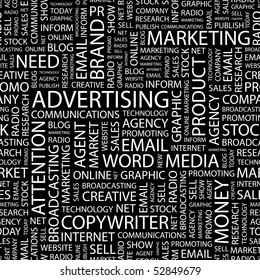 ADVERTISING. Seamless vector background. Wordcloud illustration.