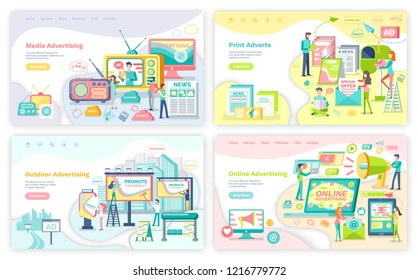 Advertising services, means of advertisement. Media and print adverts, outdoor and online banners with commercial and promotion vector illustrations